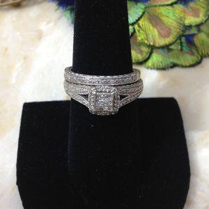 VTG STERLING DIAMOND WEDDING RING SET